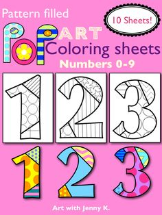 "Pattern-filled ""Pop Art"" numbers coloring sheets. What hip and colorful way to review numbers with your little kids! These are so much fun!"