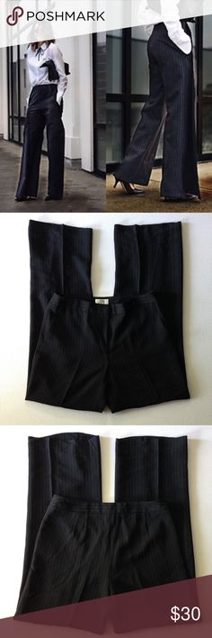 """Ann Taylor LOFT Dress Pants Trousers Pinstripe Ann Taylor LOFT Dress Pants Trousers Pinstripe. Laura Wide Leg Pants. Fully Lined, Front Zipper Closure, 2 Pockets Front, Waist 16.5"""", Hips 21"""", Inseam 33"""". Retail $80.00 #0207171813. Excellent Pre-Worn Condition. No Visible Stains, Fading or Flaws. ✨Please keep in mind that measurements are provided only as a guide and are approximate. Color appearance may vary depending on your monitor settings. LOFT Pants Wide Leg"""