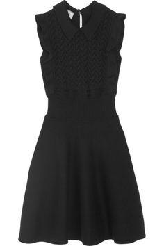 Prada | Ruffled wool and cotton-blend mini dress | NET-A-PORTER.COM