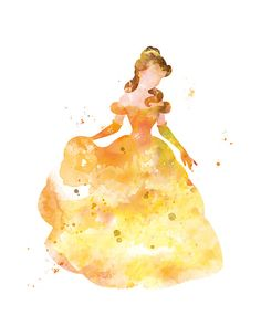 Belle Print Belle Watercolor Art Beauty and the Beast Disney #belle #beautyandthebeast #watercolor #disney #art #print #disneyprincess