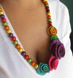 Orange peel flower necklace by catmagenta on Etsy, $39.00