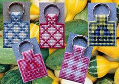Keychain 'several images-1' made on plastic canvas