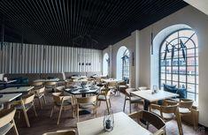Hana Sushi Manufaktura, Łódź.   Minimalist japanese restaurant. Modern 3d paneling design.  www.milkdesigns.pl Hana Sushi, Teak, Conference Room, Table, Furniture, Home Decor, Design, Projects, Decoration Home