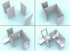 can fold back into a panel and store against a wall - makes space easily changeable for different purposes