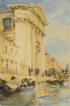 John Singer Sargent 1856 - 1925 I GESUATI (CANAL SCENE, VENICE; THE CHURCH OF THE GESUATI, VENICE; IL GESUATI, VENICE) Signed John S. Sargent (lower left). Watercolor and pencil on paper 18 by 12 in. Executed circa 1902-04.