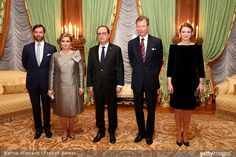 Hereditary Grand Duke Guillaume of Luxembourg and Hereditary Grand Duchess Stephanie of Luxembourg, Grand Duchess María Teresa of Luxembourg and Grand Duke Henri of Luxembourg hosted an official dinner for French President Francois Hollande at the Grand Ducal Palace on March 6, 2015 in Luxembourg, Luxembourg.