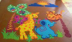 Cartoon Rangoli Designs for New Year Rangoli Designs For Competition, Colorful Rangoli Designs, Beautiful Rangoli Designs, Rangoli Designs Diwali, Rangoli Designs Images, Diwali Rangoli, New Year Rangoli, Latest Cartoons, Latest Rangoli