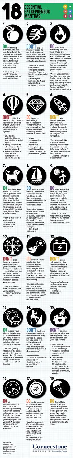 18 Essential Entrepreneur Mantras  [by Cornerstone On Demand -- via #tipsographic]. More at tipsographic.com