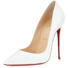 Christian Louboutin So Kate Patent 120mm Red Sole Pump ($710) ❤ liked on Polyvore featuring shoes, pumps, heels, white, heels & pumps, pointed-toe pumps, slip on shoes, low heel shoes and white pumps