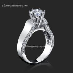 #TiffanyStyleSolitaireDiamondRing  #CathedralEngagementRing  #PaveDiamonds   #SolitaireDiamondRing  #Solitaires   http://www.BloomingBeautyRing.com