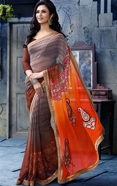 Picture of Deep Orange and Rosy Brown Color Saree With Beautiful Fancy Pallu