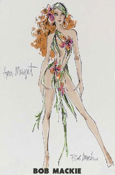 Ann Margret A costume design by Bob Mackie for Ann-Margret, felt pen and watercolor on paper, signed, the design showing Ann-Margret wearing a tropical floral costume with a matching headpiece -- 17x11in. (43.2x28cm.)