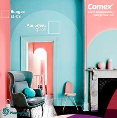 Los colores de este año son estos, decorara uno de tus espacios favoritos con esta combinación. #Decoración #Comex