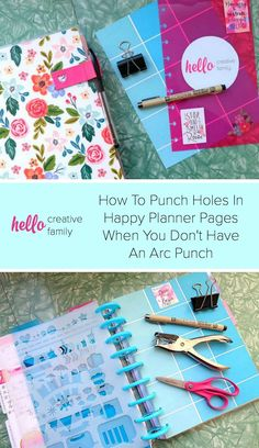 Want to punch holes in something to put into your Happy Planner but don't have a Happy Planner Arc Hole Punch? It's easy to DIY it! This tutorial shows you how to make holes in Happy Planner pages without the Arc Punch.