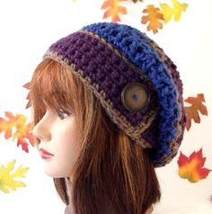 A Perfect Autumn Slouch Hat with Vintage Button by CreativeHook on Etsy Crochet Adult Hat, Crochet Diy, Crochet Slippers, Crochet Beanie, Learn To Crochet, Vintage Crochet, Crochet Crafts, Crochet Projects, Knitted Hats