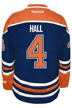 Edmonton Oilers Taylor HALL  4  A  Official Home Reebok Premier Replica NHL  Hockey 641ec99a2