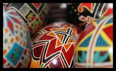 Ukrainian Easter eggs and this web site has free instructions on 'How To':  http://www.learnpysanky.com/