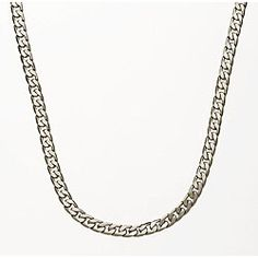 This is the ONE @Overstock - Elegant and classic Cuban style chain is the perfect companion to any pendant  Jewelry accessory is made of silver overlaying principal alloy  Necklace features a high polished finish with anti-tarnish enamel layeringhttp://www.overstock.com/Jewelry-Watches/Silver-Overlay-24-inch-Cuban-Necklace-7mm/3074169/product.html?CID=214117 $19.99