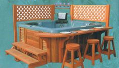 Craftline Industries - Spa Deck Gazebo for hot tubs and spas with bar and counte. - Craftline Industries – Spa Deck Gazebo for hot tubs and spas with bar and counter. Hot Tub Privacy, Hot Tub Patio, Hot Tub Gazebo, Whirlpool Bar, Hot Tub Bar, Hot Tubs, Spas, Gazebo On Deck, Diy Pergola
