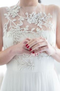 simple wedding gown with illusion neckline