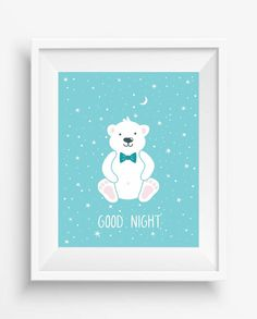 Cute Polar Bear,Good Night,Nursey decor,children room,Digital art print,Wall Art Printable,
