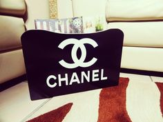CHANEL black Magazine Rack Stand with Black Chanel Logo