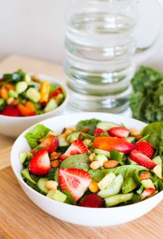 Peaches and Greens Salad with Strawberries