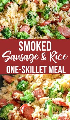 This quick & easy Smoked Sausage & Rice One Skillet Meal . - Easy Dinner IdeasThis quick & easy Smoked Sausage & Rice One Skillet Meal Recipe can be made in under 30 minutes and promises to be a hit around your dinner table! Sausage Recipes For Dinner, Smoked Sausage Recipes, Recipes With Kielbasa, Polish Sausage Recipes, Venison Recipes, Meat Recipes, One Skillet Meals, One Pot Meals, Healthy Recipes