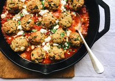 Kabuli Chickpea, Ricotta, and Spinach Meatballs in Tomato Sauce – Flourist Entree Recipes, Cooking Recipes, Healthy Recipes, Healthy Foods, Ricotta, Veggie Meatballs, Chickpea Patties, Veggie Sausage, Spinach Stuffed Chicken