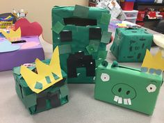 Minecraft Inspired Valentine's Day Card Holders that students in the elementary room at New Story DuBois created!