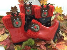 Reindeer Christmas Wellie Boot Cuff / Boot by BabyJaneKnits