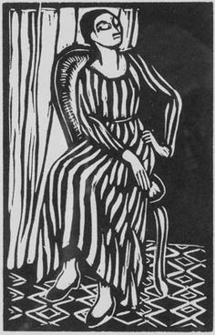 The Striped Dress  Woodcut by Roger Fry  Printed at the Hogarth Press