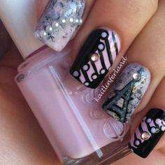 Paris themed nails
