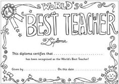 Coloring Pages Of The Words Best Teacher In Award | Teacher Appreciation Colouring  Pages