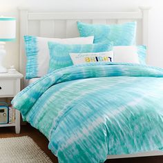 Surfers Point Tie Dye Duvet Cover + Sham, Capri Pool | PBteen