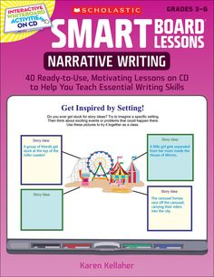 SMART Board™ Lessons: Narrative Writing   Interactive SMART Board lessons focus on developing character, setting, plot, dialogue, and ideas!