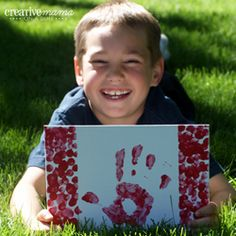 Handprint Canadian Flag - Canada Day Party Activities thumbprint great idea - for Flag Day with the kids