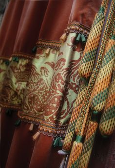 Drapery featurig bell fringe and chairties from the Renaissance Collection by BRIMAR. #brimar  #trim
