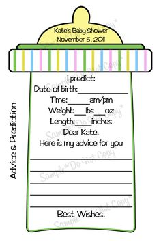 Baby Bottle - 1 DIGITAL Personalized Game Included - Advice Cards. $4.00, via Etsy.