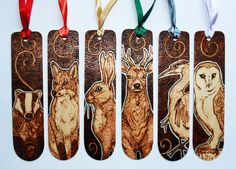 Pyrography - British Animal Bookmarks by *BumbleBeeFairy on deviantART (beautiful bookmarks)
