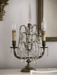 I have two electrified tabletop chandeliers similar to this.  Haven't decided yet where to use them.