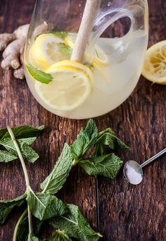 Fresh Mint Ginger Lemonade | bloggingoverthyme.com