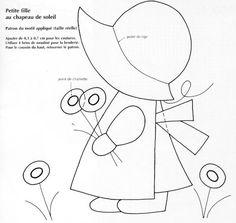 sunbonnet sue et overall bill -- different hat Applique Templates, Applique Patterns, Applique Designs, Embroidery Applique, Quilt Patterns, Sewing Patterns, Sunbonnet Sue, Patch Quilt, Girls Quilts