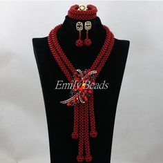 Handmade Indian Wedding Jewelry Set African Nigerian Costume Coral Beads Necklace Set Bridal Gift Set Free Shipping CJ674