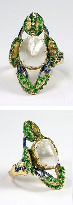 An Art Nouveau gold, enamel and pearl ring, Europe, 1895-1910. #ArtNouveau #ring