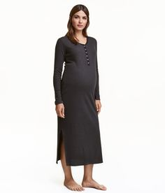 Check this out! Long nightgown in ribbed jersey. V-neck with snap fasteners at top, long sleeves, and slits at sides. - Visit hm.com to see more.