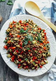 An easy salad or side dish of hearty lentils and fresh veggies, tossed in a balsamic vinaigrette dressing