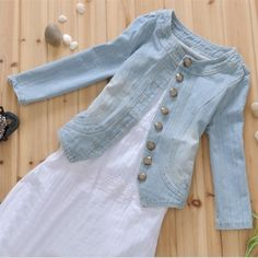 Round Neck Three Quater Sleeve Single Breast Front Buttons Closure Fashion Sexy Women OL Motorcycle Denim Jacket
