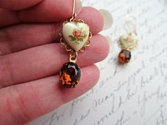 Vintage Rose Heart Cameo and Vintage Brown Rhinestone earrings :)