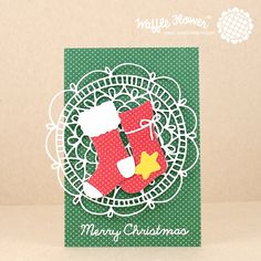 Get a jump on Christmas cards in the summer! Use basic Christmas colors of dotted cardstock and adorable Christmas dies from Waffle Flower.